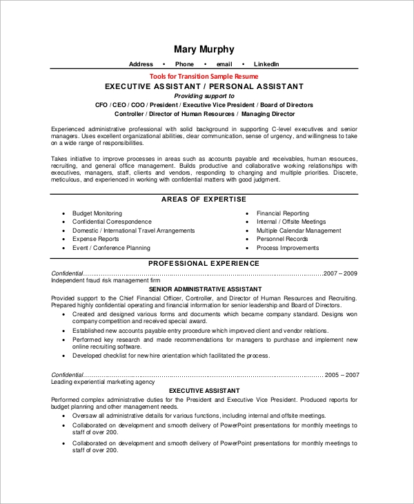 free sample executive assistant resume templates in ms word pdf professional Resume Professional Administrative Assistant Resume