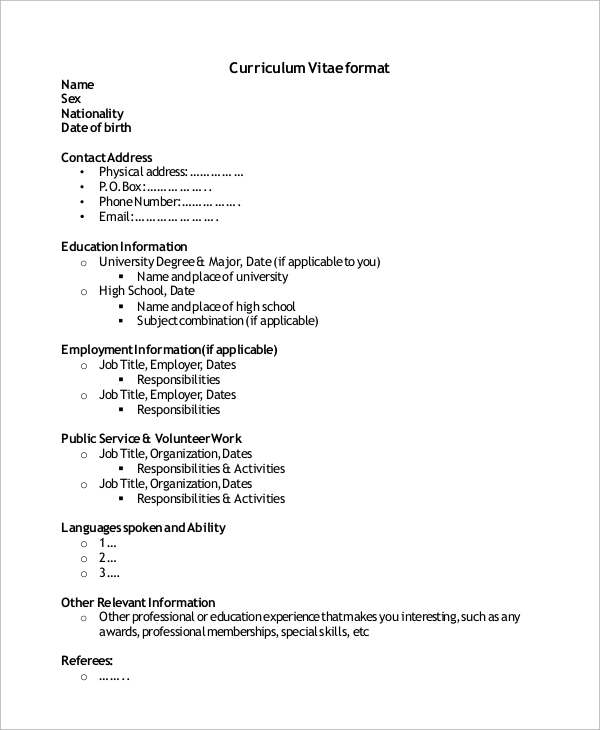 free sample high school cv templates in ms word pdf resume education format for students1 Resume Resume Education Format High School