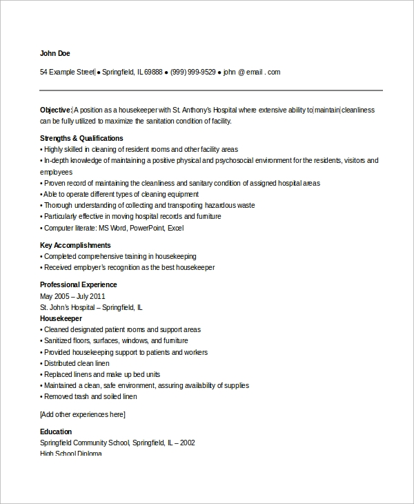 free sample housekeeping resume templates in ms word pdf for position hospital Resume Sample Resume For A Housekeeping Position