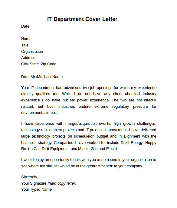 free sample information technology cover letter templates in pdf ms word resume it Resume Information Technology Resume Cover Letter
