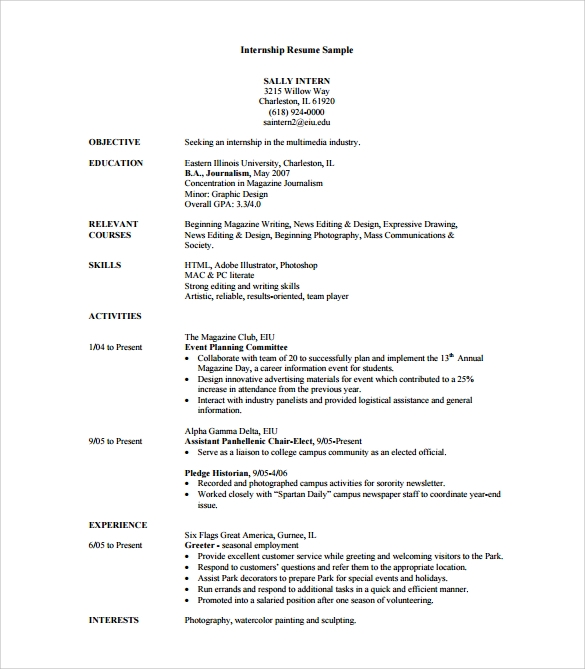 free sample internship resume templates in pdf ms word template with experience film crew Resume Resume Template With Internship Experience
