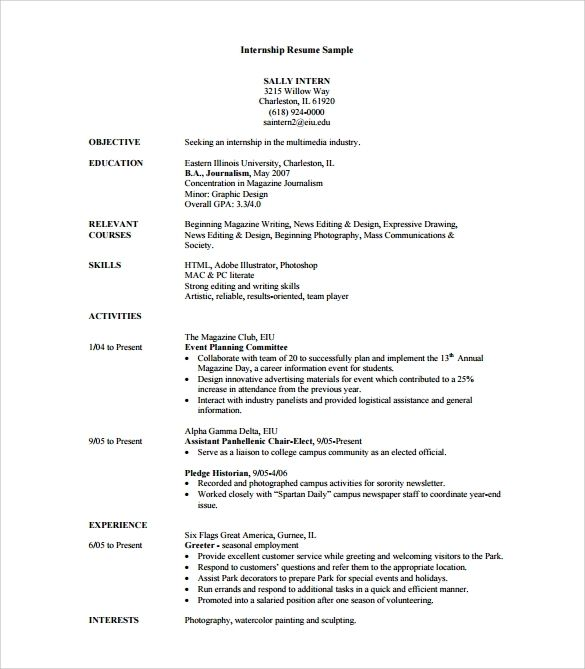 free sample internship resume templates in pdf word template for university students Resume Internship Resume Sample For University Students
