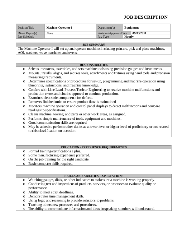 free sample machine operator job description templates in pdf duties resume for template Resume Machine Operator Job Duties Resume