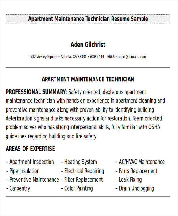 free sample maintenance technician resume templates in ms word pdf examples for apartment Resume Resume Examples For Maintenance Technician