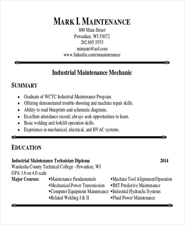 free sample maintenance technician resume templates in ms word pdf examples industrial Resume Maintenance Resume Examples
