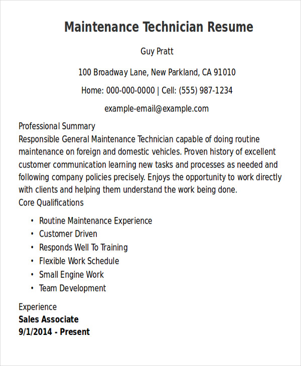 free sample maintenance technician resume templates in ms word pdf general service Resume General Service Technician Resume