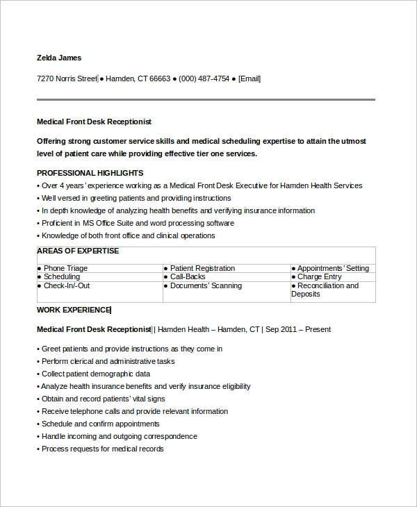 free sample medical receptionist resume templates in ms word pdf front desk office pre Resume Front Desk Receptionist Medical Office Resume