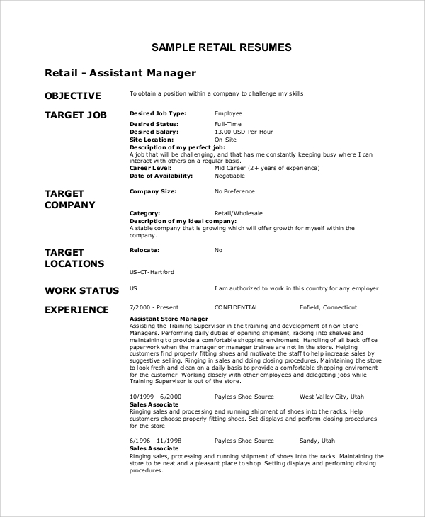 free sample objective for resume templates in pdf ms word profile examples retail summary Resume Resume Profile Examples For Retail
