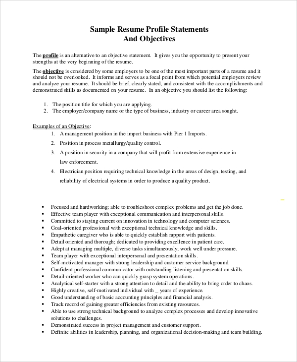 free sample objective statement resume templates in pdf strong statements general monster Resume Strong Resume Objective Statements