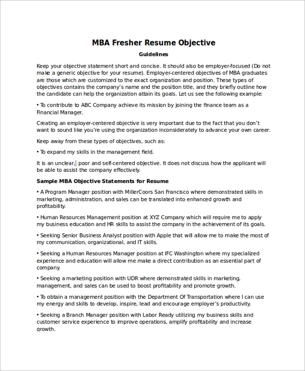 free sample objectives in pdf ms word mba application resume objective statement fresher Resume Mba Application Resume Objective Statement