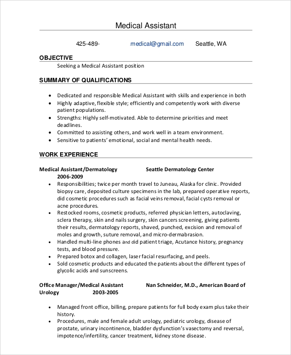 free sample office assistant resume templates in ms word pdf format for front medical Resume Resume Format For Front Office Assistant
