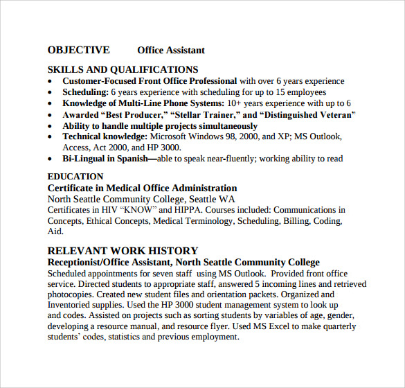 free sample office assistant resume templates in pdf ms word for position child and youth Resume Sample Resume For Office Assistant Position