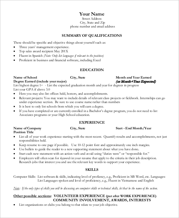 free sample one resume templates in ms word pdf microsoft template for freshers business Resume Microsoft Word One Page Resume Template