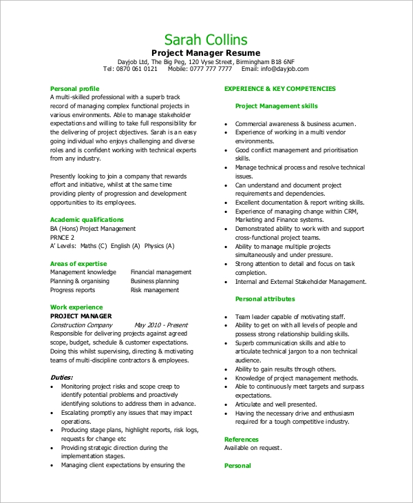 free sample project manager resume templates in pdf ms word personal experience example Resume Resume Personal Experience