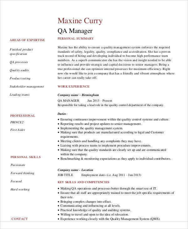 free sample quality assurance resume templates in ms word pdf manager format marketing Resume Quality Assurance Manager Resume