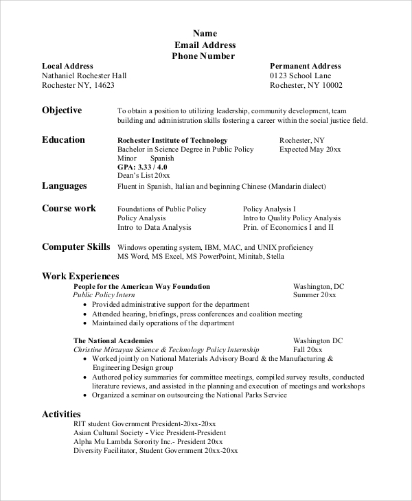 free sample resume for college student in ms word pdf objective architect statement easy Resume College Resume Objective
