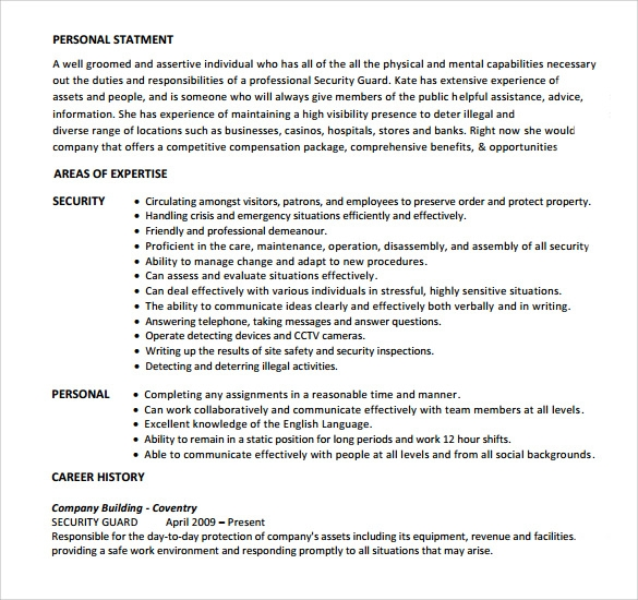 free sample security guard resume templates in pdf ms word position format made easy Resume Security Position Resume