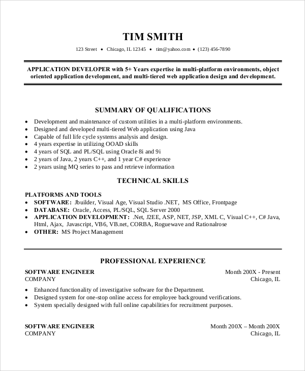 free sample software engineer resume templates in ms word pdf of years experience Resume Resume Of 2 Years Experience Software Engineer