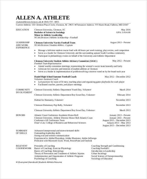 free sample student resume templates in pdf ms word excel athletic template athlete Resume Athletic Resume Template