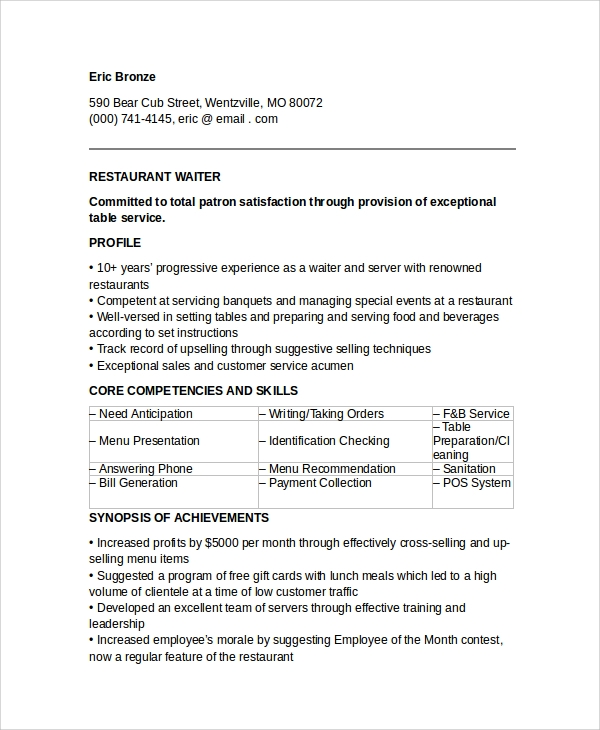 free sample waiter resume templates in pdf ms word entry level server restaurant verbiage Resume Entry Level Server Resume