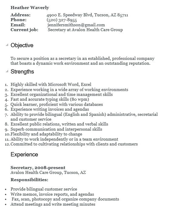 free secretary resume samples templates in ms word format job description of for 12th Resume Job Description Of A Secretary For Resume