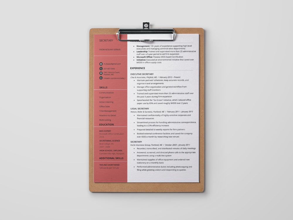 free secretary resume template by andy on dribbble cashier responsibilities customer Resume Secretary Resume Template Free