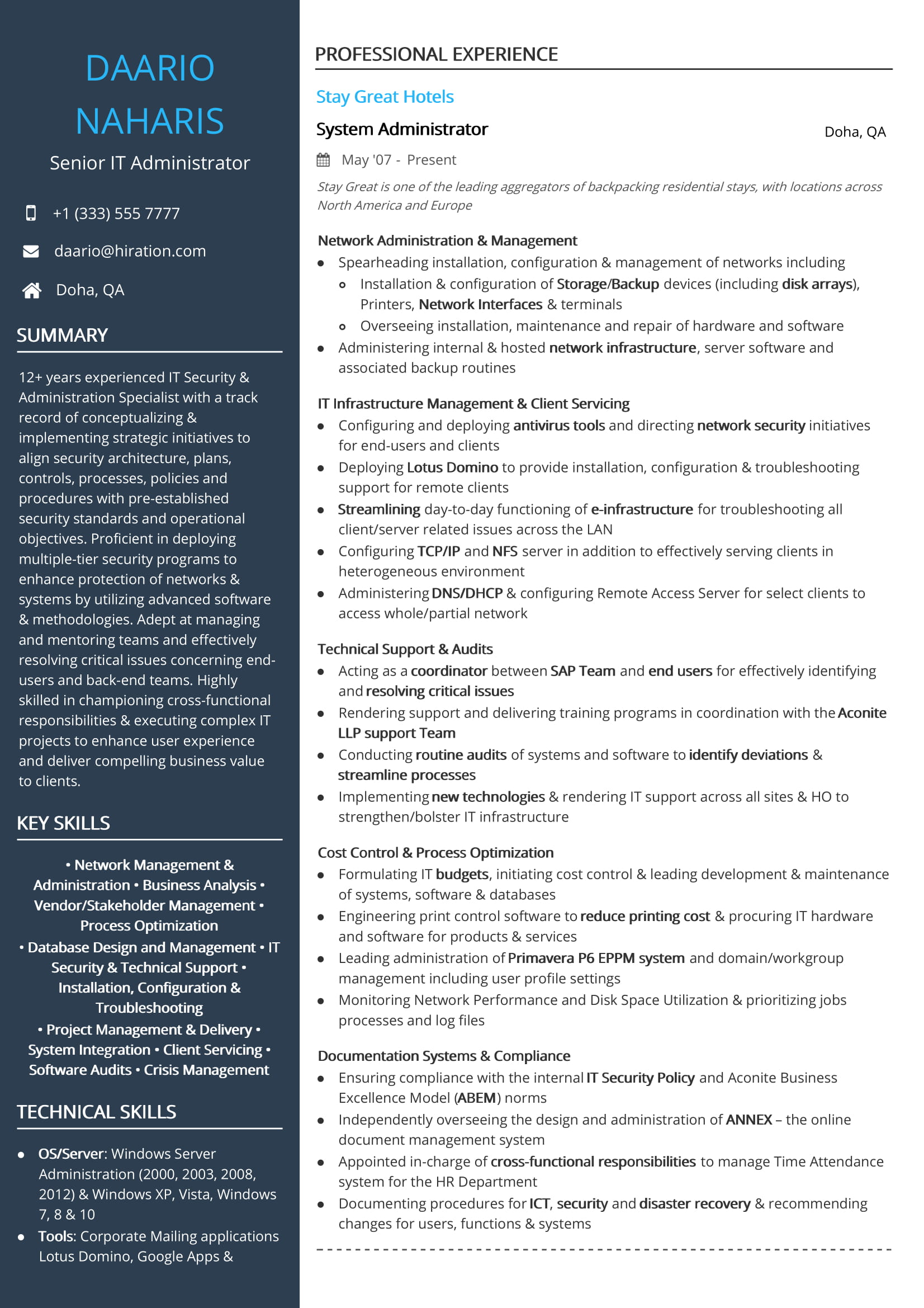 free senior it administrator resume sample by hiration server examples admin dunkin Resume Server Administrator Resume Examples