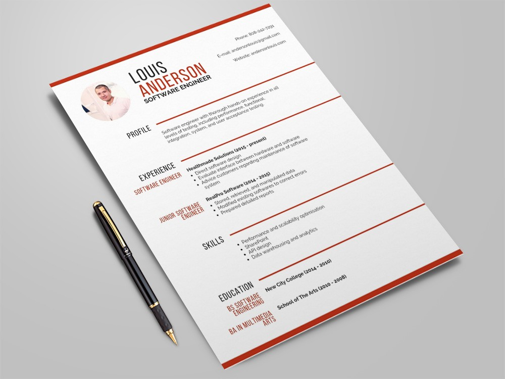 free software engineer resume template with professional look design electronics test Resume Free Resume Design Software