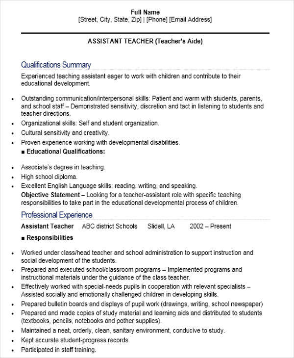 free teacher resume templates in pdf ms word experience for sample assistant property Resume Experience For Teacher Resume
