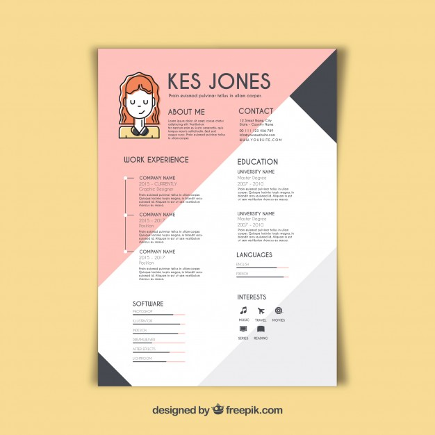 free vector graphic designer resume template professional design security officer Resume Professional Graphic Design Resume