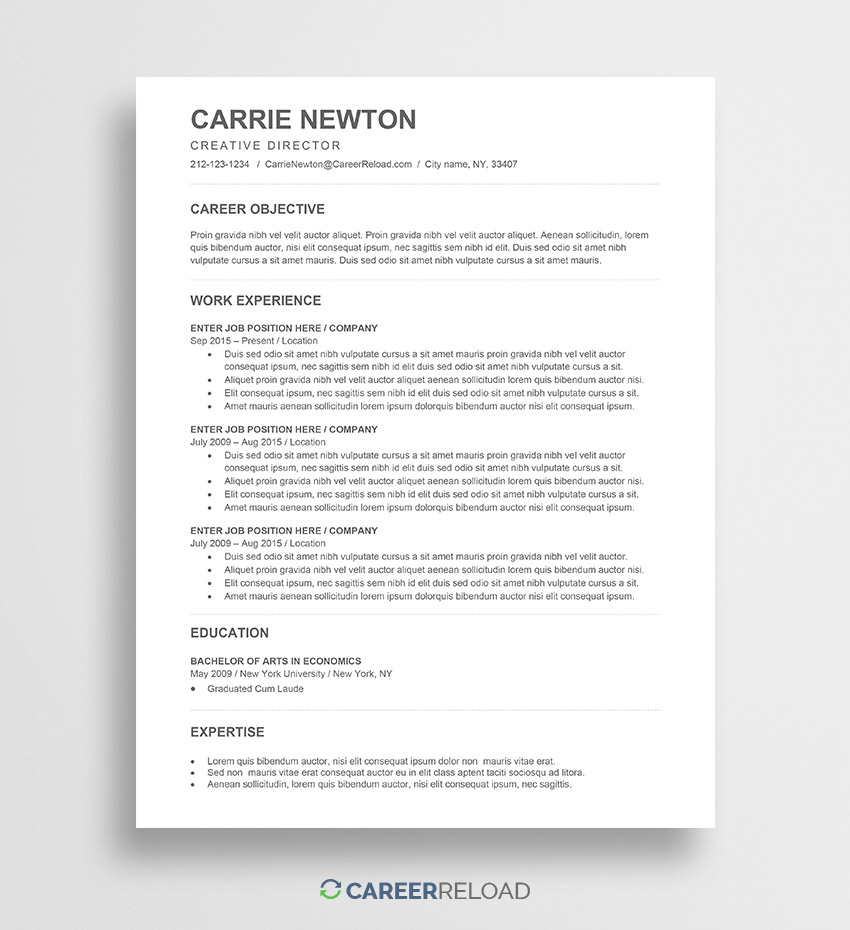 free word resume templates microsoft cv ats friendly template carrie place salesperson Resume Ats Friendly Resume Template Free 2019