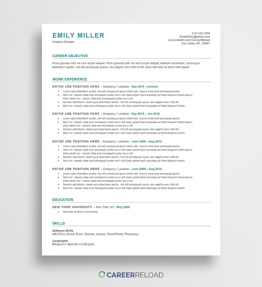 free word resume templates microsoft cv ats friendly template emily subject title for Resume Ats Friendly Resume Template Free 2019
