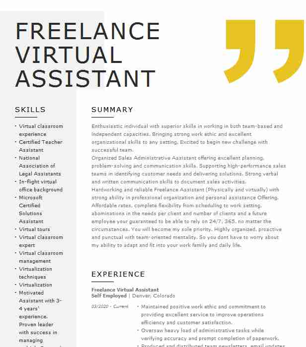 freelance virtual assistant resume example self employed rockville funeral home Resume Funeral Home Administrative Assistant Resume