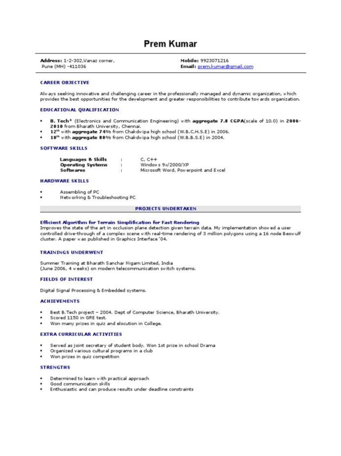 fresher resume sample microsoft windows computer science format for freshers engineers Resume Resume Format For Freshers Engineers Computer Science