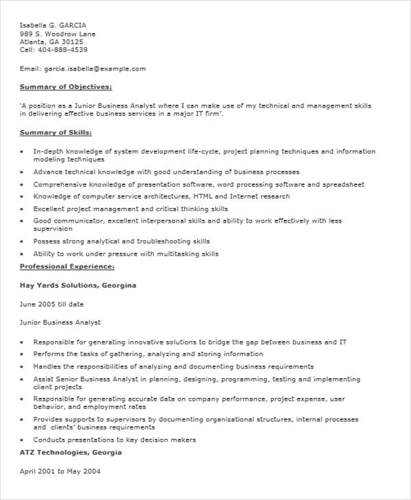 fresher resume templates pdf free premium format for business analyst junior sample Resume Resume Format For Business Analyst Fresher