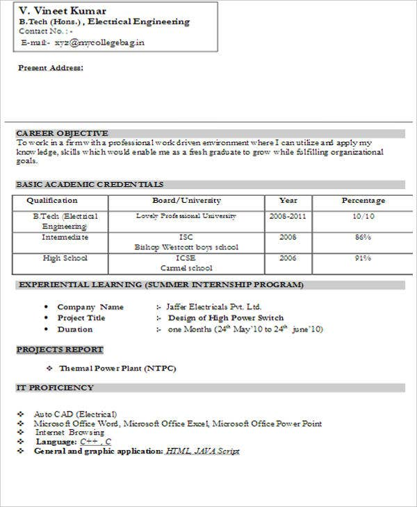 fresher resume templates pdf free premium format for freshers with photo electrical Resume Free Download Resume Format For Freshers With Photo