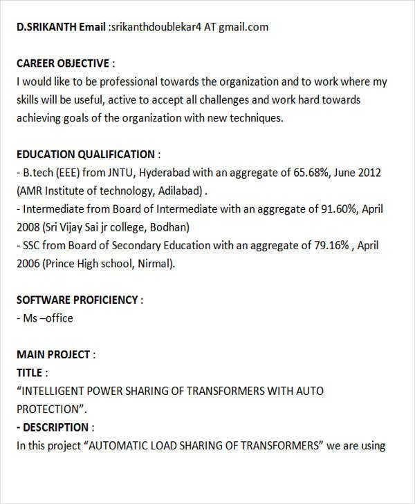 fresher resume templates pdf free premium objective for mechanical engineer electrical Resume Objective For Resume For Fresher Mechanical Engineer