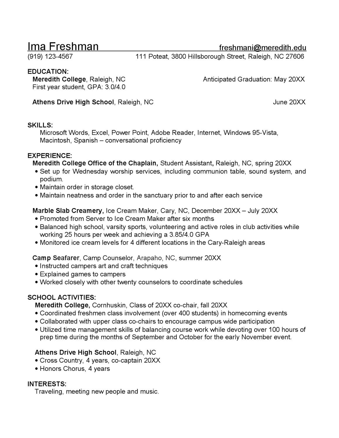 freshman resume sample by meredith college academic career planning issuu for first year Resume Resume For First Year Student