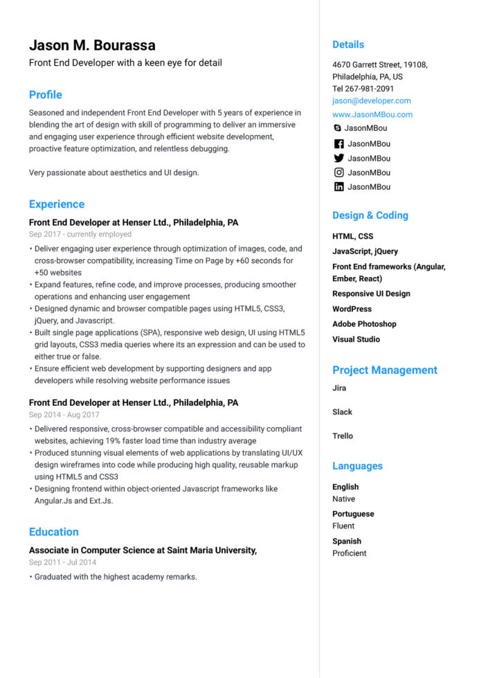 front end developer resume for example guide jofibo angular points good personal Resume Angular 4 Resume Points