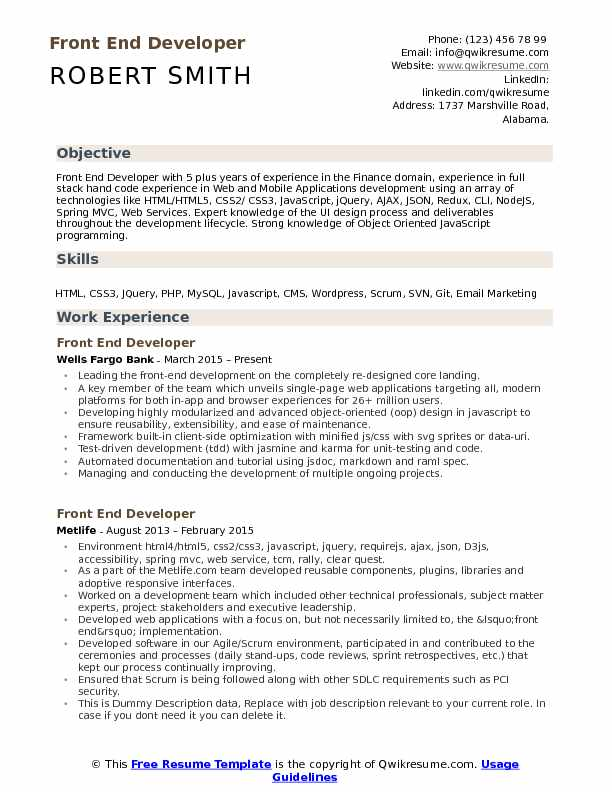 front end developer resume samples qwikresume javascript template pdf difference between Resume Javascript Resume Template