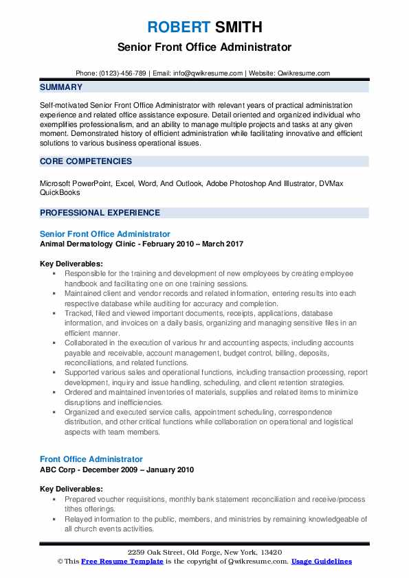 front office administrator resume samples qwikresume duties for pdf acting beginners Resume Office Administrator Duties For Resume