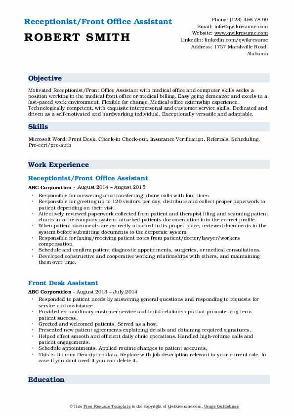front office assistant resume samples qwikresume format for pdf high school junior Resume Resume Format For Front Office Assistant