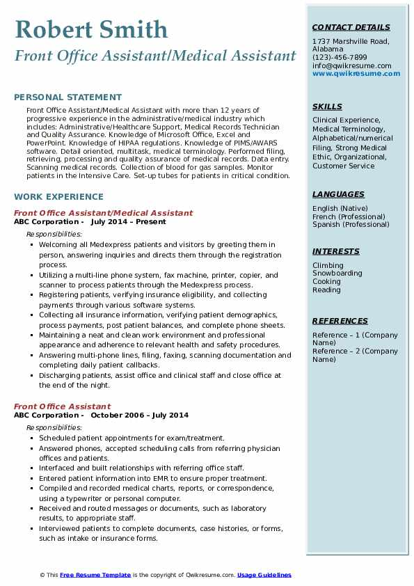 front office assistant resume samples qwikresume format for pdf medical records sample Resume Resume Format For Front Office Assistant