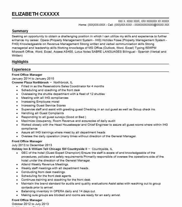 front office manager resume example metropolitan hotel desk entry level safety specialist Resume Front Desk Manager Resume