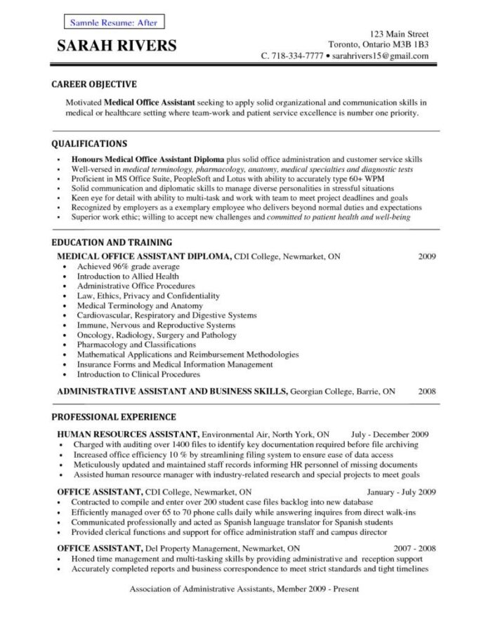 front office medical assistant resume receptionist example sample objectives objective Resume Resume Objective Examples For Medical Field