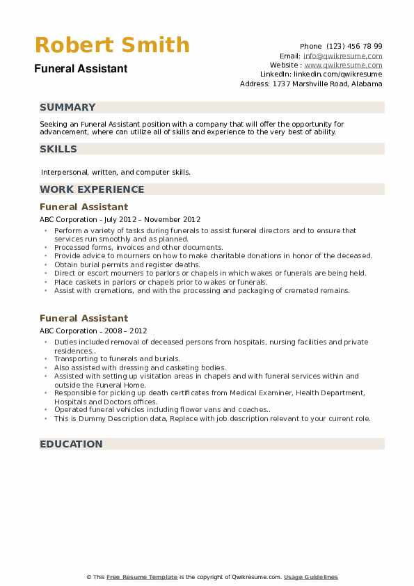 funeral assistant resume samples qwikresume home administrative pdf free writer college Resume Funeral Home Administrative Assistant Resume