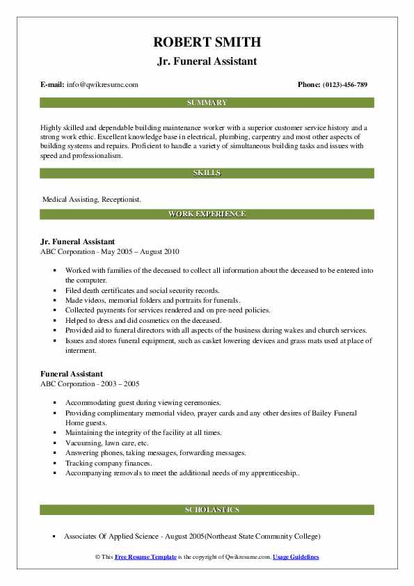 funeral assistant resume samples qwikresume home administrative pdf google apps template Resume Funeral Home Administrative Assistant Resume