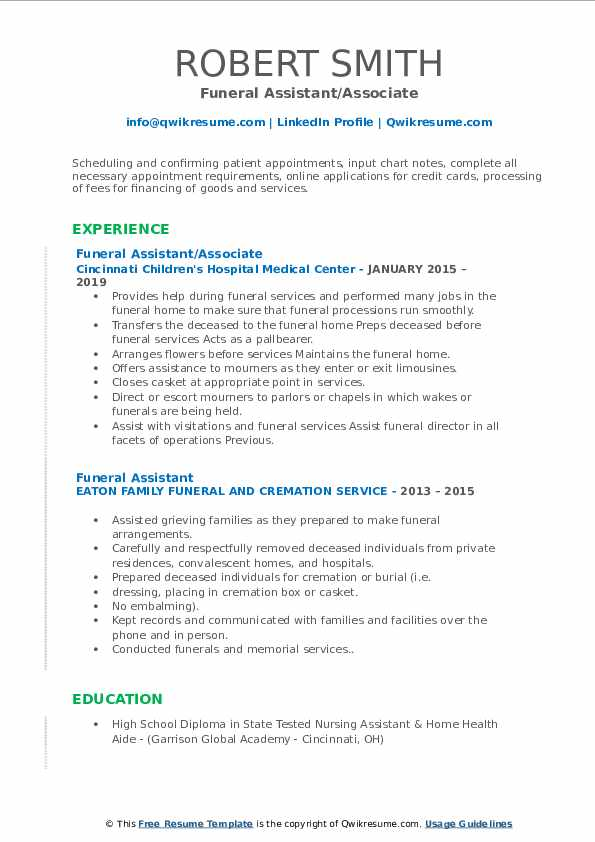 funeral assistant resume samples qwikresume home administrative pdf now cost college Resume Funeral Home Administrative Assistant Resume
