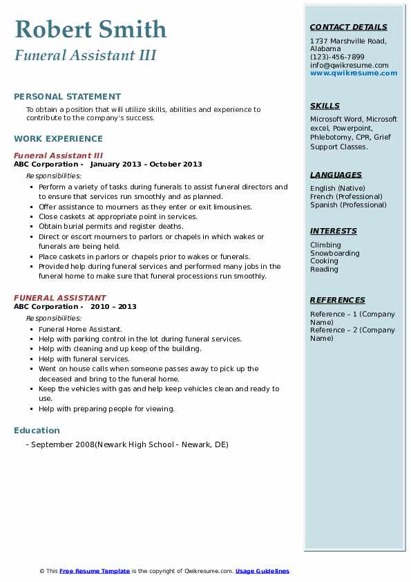 funeral assistant resume samples qwikresume home administrative pdf summary template free Resume Funeral Home Administrative Assistant Resume