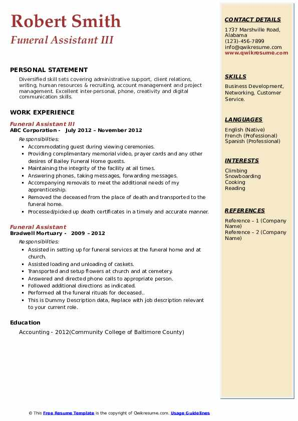 funeral assistant resume samples qwikresume home administrative pdf writing general mysql Resume Funeral Home Administrative Assistant Resume